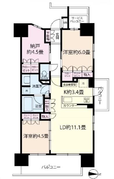 中古マンション 川越市通町 間取り図(間取)