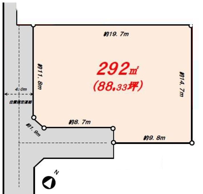 土地 狭山市水野 区画図(間取)
