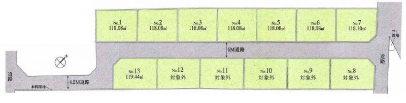 土地 川越市藤間 区画図(間取)