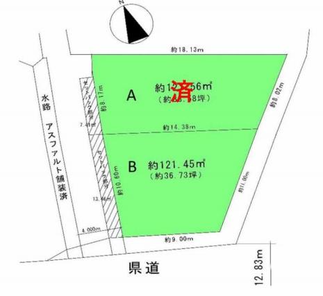 土地 川越市小室 区画図(間取)