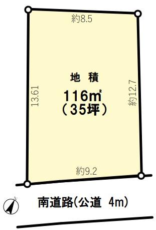 土地 狭山市狭山 区画図(間取)